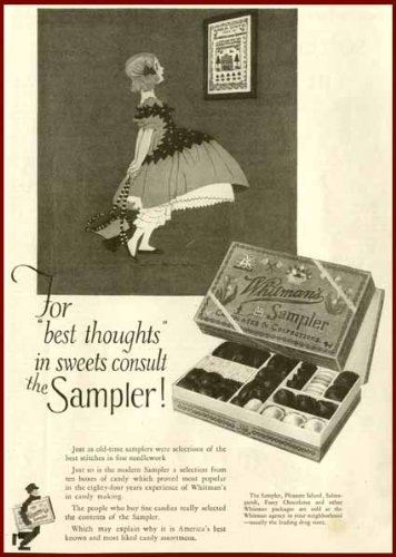 Charming Artwork in 1926 WHITMAN'S Sampler Chocolate AD Original Paper Ephemera Authentic Vintage Print Magazine Ad/Article