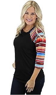 MONOBLANKS Womens Serape Leopard Raglan T-Shirt 3//4 Sleeve O-Neck Loose Casual Shirt Tops