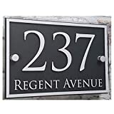 Fuli Customized Modern House Address Plaque Door Number Signs Name Plates Glass Effect Acrylic (210mm×140mm—Rectangle Border)
