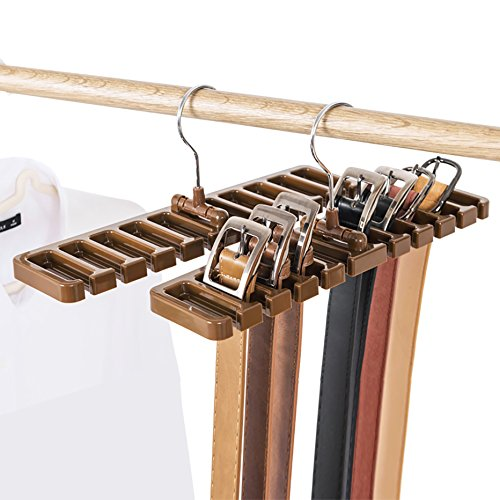 Moveagogo [2-Pack Sturdy Plastic Belt Hanger Scarf Tie Rack Holder for Men Closet Storage Organizer (Brown) ()