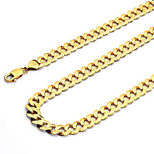 (14k Yellow Gold Solid Men's 4mm Cuban Concave Curb Chain Necklace with Lobster Claw Clasp - 22