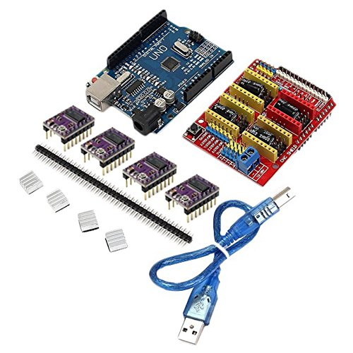 Toogoo CNC Shield + UNO R3 Board + 4 X DRV8825 Driver Kit For Arduino 3D Printer Module Board by Toogoo