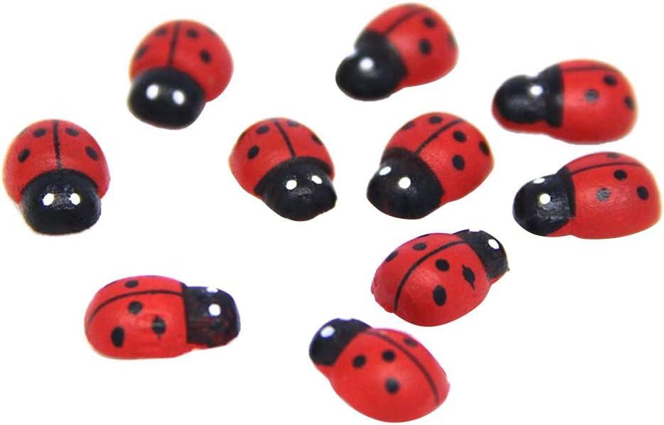 Yardwe 100 UNIDS Mini Mariquitas Miniatura para Jardín de Hadas Casa de Muñecas Micro Paisaje Planta Decoración Simulación Plástica Siete Estrellas Pequeña Mariquita (Rojo)
