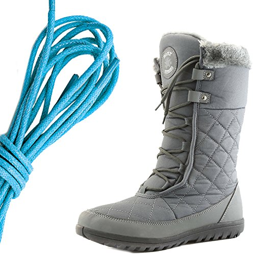 DailyShoes Womens Comfort Round Toe Mid Calf Flat Ankle High Eskimo Winter Fur Snow Boots, Blue Gray