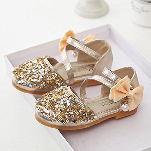 Baby schuhe,Sunnyyoyo Kleinkind Kinder Mädchen Baby Prinzessin Mode Tanz Leder Lässig Single Schuhe Gold