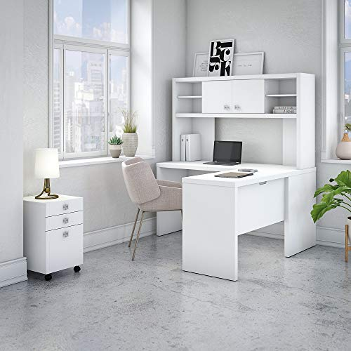 Office by Kathy Ireland Echo L Shaped Desk Office Suite in Pure -