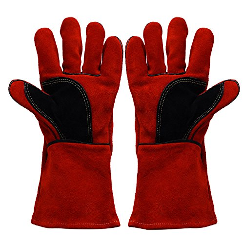Glove Welder Mig Tig (BHIVES Heavy Duty Heat and Fire Resistant Gloves Perfect for Gardening/Oven/Grill/Mig/Fireplace/Stove/Pot Holder/ Tig Welder/Animal Handling/BBQ,14 Inch Long(Red) )
