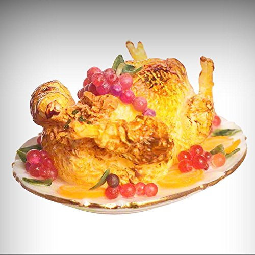 Dollhouse Thanksgiving Roast Turkey w Fruit on Gold Rim Platter 1:12 Miniatures - My Mini Garden Dollhouse Accessories for Outdoor or House Decor]()