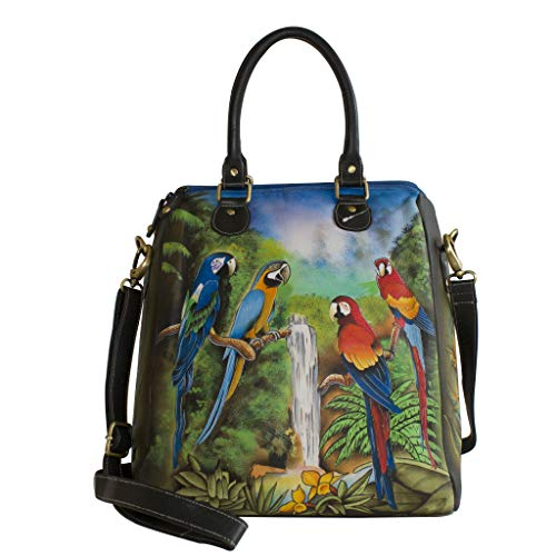 Hand Leather Designer Stunning Cowhide Design Macaw Handicraftsvillauk Handbag Women's Trendy Classy Genuine Fashionable Painted Ladies nRI1BxqU7