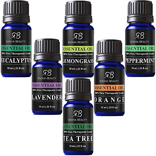 Radha Beauty Aromatherapy Top 6 Essential Oils 100% Pure & Therapeutic grade - Basic Sampler Gift Set & Premium Kit - 6/10 Ml (Lavender, Tea Tree, Eucalyptus, Lemongrass, Orange, Peppermint)