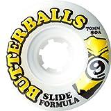 Sector 9 Top Self Butter Balls Slide Wheels, White, 70mm 80A