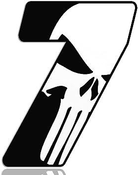 Biomar Labs Startnummer Nummern Auto Moto Vinyl Aufkleber Sticker Skull Schädel Punisher Weiß Motorrad Motocross Motorsport Racing Nummer Tuning 7 N 367 Auto