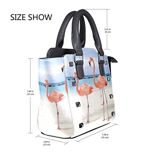 TIZORAX TIZORAX Seaside Shoulder Leather Women's Tote Bags Handbags Flamingo Flamingo nnWrOwFZx