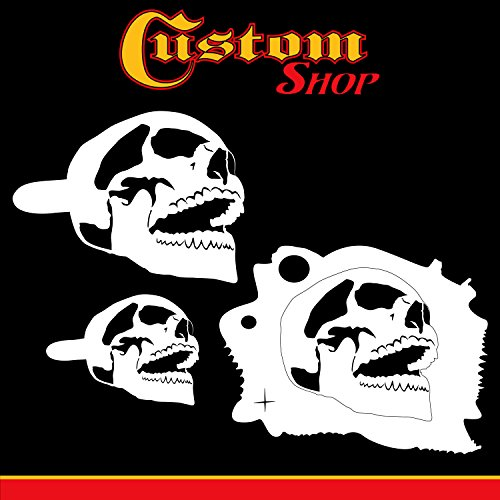 Custom Shop Airbrush Stencil Skull Design Set #7 (3 Different Scale Sizes) - 3 Laser Cut Reusable Templates - Auto, Motorcycle Graphic Art Auto Airbrush Stencils