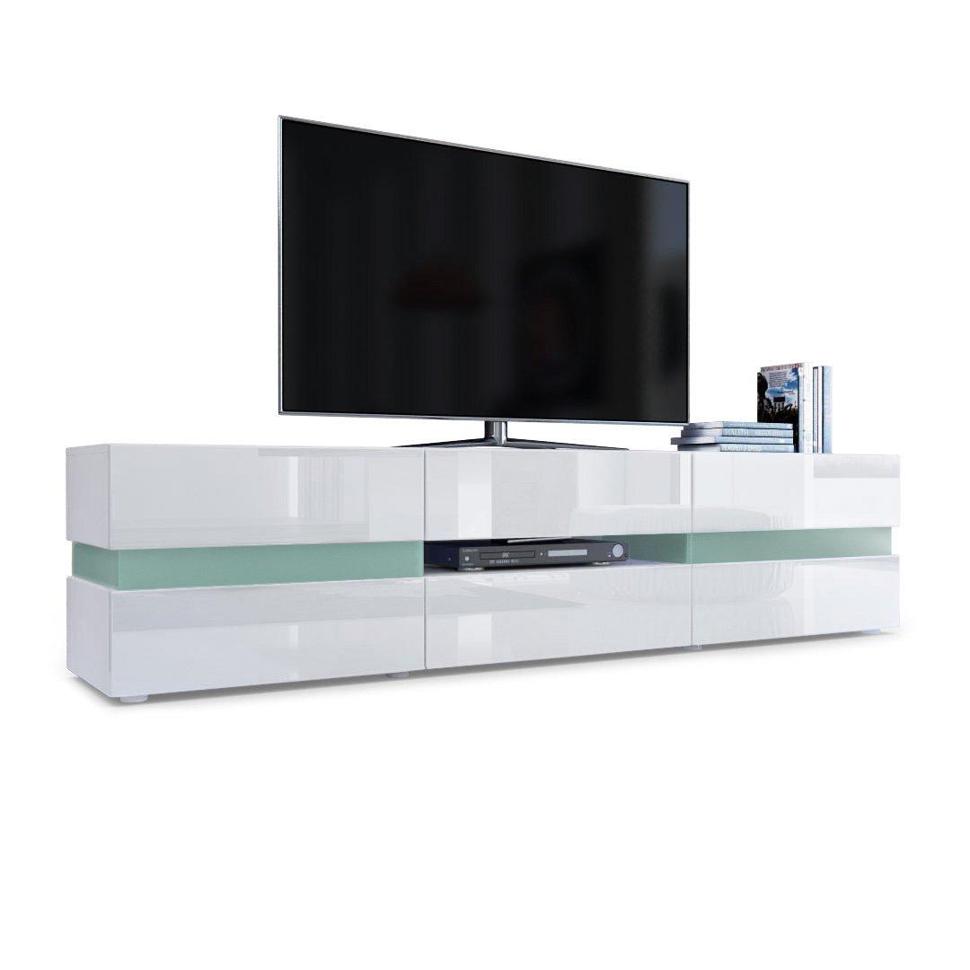 Weiß Korpus matt, ohne LED Beleuchtung Vladon TV Board Lowboard Flow, Korpus in Weiß matt Front in Weiß Hochglanz