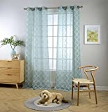 Miuco Sheer Curtains Embroidered Trellis Design Grommet Curtains 63 Inches Long for Living Room 2 Panels (2 x 37″ Wide x 63″ Long) Teal Review