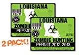 Louisiana-ZOMBIE HUNTING PERMIT TAG-2 PACK-DECAL STICKER-LICENSE-2012/2013-LA