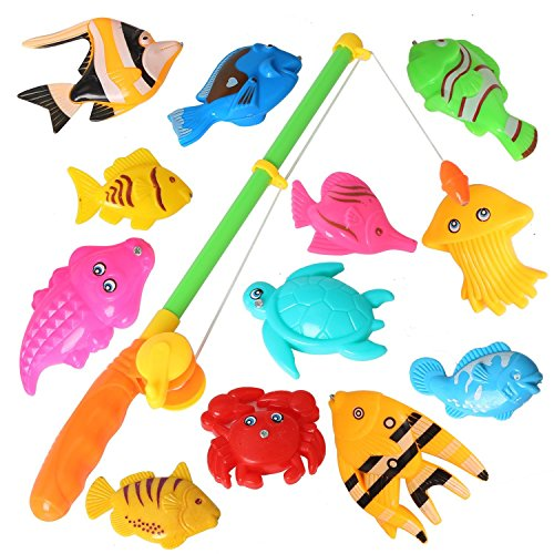 12PCS Fish Magnetic Fishing Toys Colorful Magnet Fishing Game with Fishing Rod for Kids Toddlers