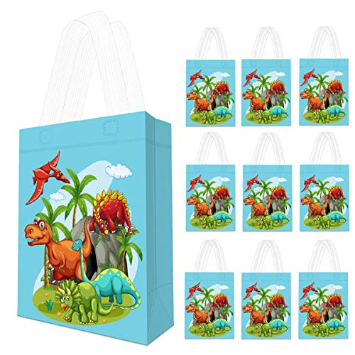 10 Pack Dinosaur Party Supplies Favor Bags - Reusable Dino Gift Tote Bags, Goodie Gift Toy Treat Bags for Kids Boys Dinosaur Theme Birthday Party, T-Rex Roar Party, Jurassic World Party Supplies -