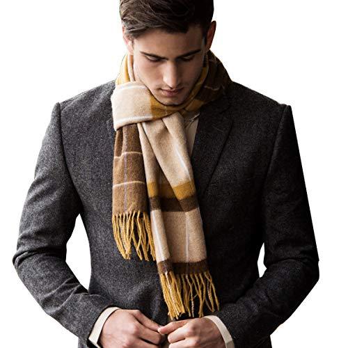 Knit Fashion Scarf - Erigaray 100% Wool Mens Scarf Plaid Winter Warm Fashion knit Scarfs For Men
