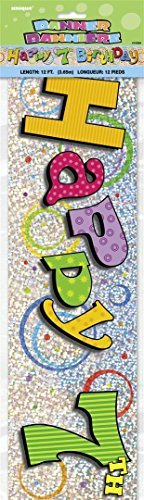 12ft Prism Foil Happy 7th Birthday Banner by Unique Party by UNIQUE PARTY