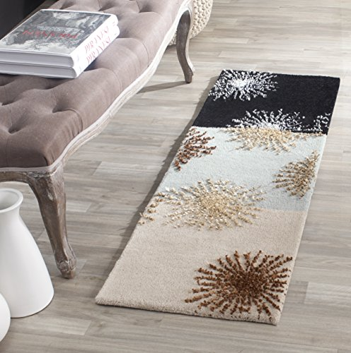 Safavieh Soho Collection SOH712ACD Handmade Starburst Multicolored New Zealand Premium Wool Area Runner (1'6