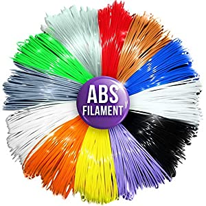 3D Pen / Printer Refills - 1.75mm ABS Filament Refill Pack - 240 Linear Feet in 20 Foot Lengths Per Color - 80 STENCIL E-BOOK & BONUS GLOW IN THE DARK COLOR Included by 3D Artist Supply from JGK Holdings