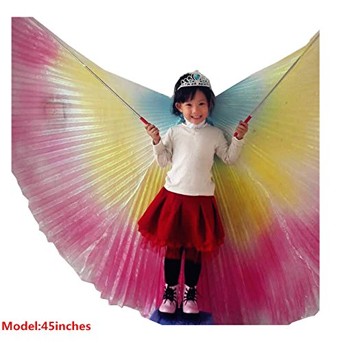 Belly Dance Isis Wings (Geek3C Belly Dance ISIS Wings For Kids Child Girl, White Dance Costumes Birthday Party, Cosplay With Sticks Frozen Crown Carnival Halloween Cloak (Multicolor))
