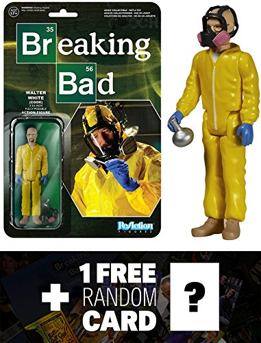 Walter White (Cook): Funko ReAction x Breaking Bad Action Figure + 1 FREE Official Breaking Bad Trading Card Bundle (054076)