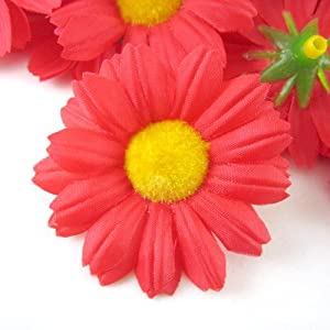"(12) Silk Red Gerbera Daisy Flower Heads , Gerber Daisies - 1.75"" - Artificial Flowers Heads Fabric Floral Supplies Wholesale Lot for Wedding Flowers Accessories Make Bridal Hair Clips Headbands Dress 60"