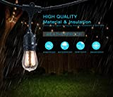 48Ft 24 Hanging Socket LED Outdoor String lights-2W S14 Edison Vintage Bulbs, Commercial Grade, Weatherproof, Perfect for Market Cafe Umbrella Bistro Patio Garden Porch Backyard Party Deck-Black