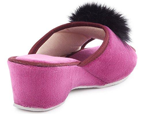 LABR301 Claquette Chaussons Semelle Violet Pantoufles Femme Ladeheid Chaussures avec Été Fourrure Mules qvwOgfOXU