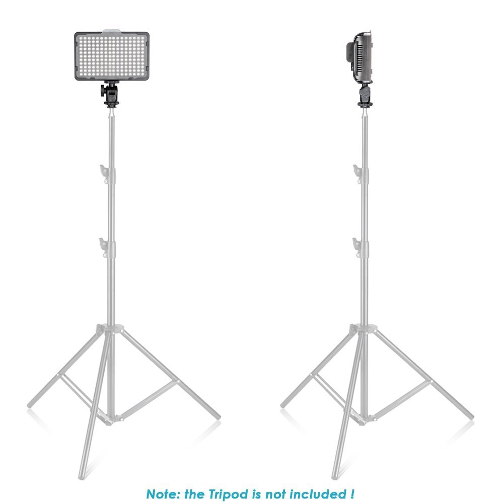 Neewer Dimmable 176 LED Video Light on Camera LED Panel with 2600mAh Li-ion Battery and Charger for Canon, Nikon, Samsung, Olympus and Other Digital SLR Cameras for Photo Studio Video Photography by Neewer (Image #4)