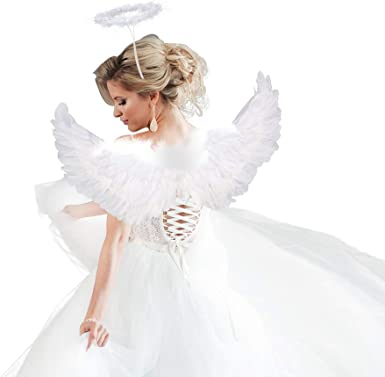 """18/"""" Non Feathered Adult Size Angel Wings Halloween Christmas Costume Accessory"""