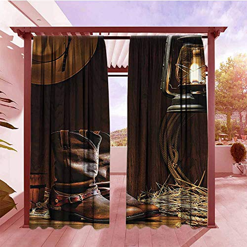 DGGO Blackout Rod Pocket Curtain Panel Western Decorations Collection Traditional Leather Roper Boots Picture Print Darkening Thermal Insulated Blackout W84x72L Brown Sienna Peru