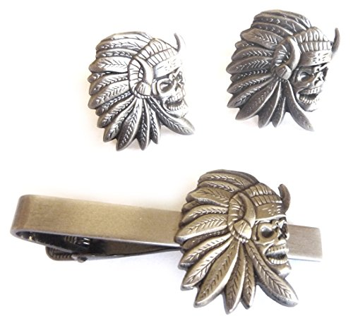 Indian Chief Skull Skeleton Biker Motorcycle Suit Tuxedo TIE BAR CLIP CUFFLINKS SET ()