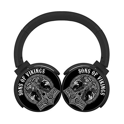 (MagicQ New Sons of Vikings Skull Bluetooth Headphones,Hi-Fi Stereo Earphones Black)