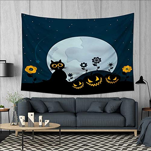 Anhuthree Halloween Tapestry Table Cover Bedspread Beach Towel Cute Cat and Lanterns Moon on Floral Field with Starry Night Sky Star Cartoon Art Dorm Decor 71