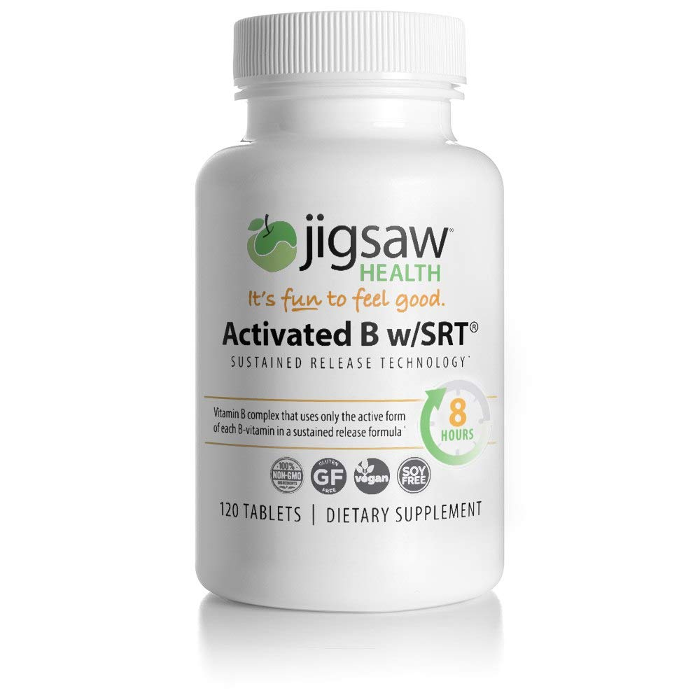 Jigsaw Activated B w/SRT - Slow Release B Complex Supplement Including Only The Active Forms of B Vitamins - Super Absorbable Active Vitamin B Complex Tablets with A Timed Release.