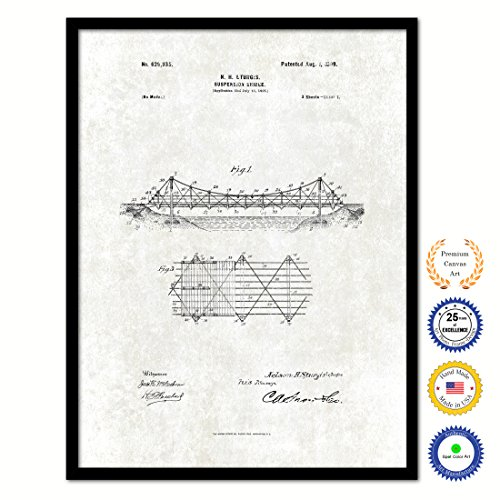 1899 Suspension Bridge Vintage Antique Patent Artwork Great Gift for Engineers Architects Construction Workers Black Framed Canvas Print Home Office Decor Wall Art