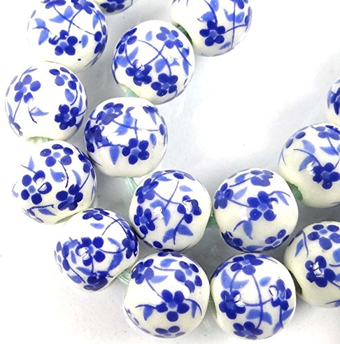 (OutletBestSelling Charm Bracelet 8mm Floral Blue White Porcelain Decals Round Beads)