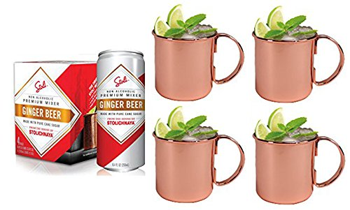 stoli-ginger-beer-and-moscow-mule-mug-combo-set-includes-4-pack-of-stoli-ginger-beer-and-4-copper-mo
