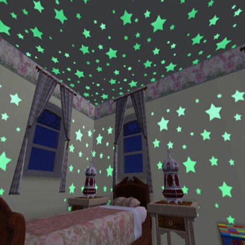 Marsway Hot Glow In The Dark Plastic Stars Stickers Baby Kids Ceiling Wall Room (4 Pieces)