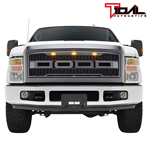 Tidal Raptor Style Upper Replacement Grille w/ LED Amber Lighting for 08-10 Ford F250 F350 Super Duty - Charcoal Gray