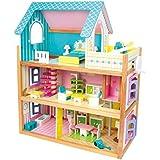"""Puppenhaus """"Residenz"""" aus Holz verfügt über 3 Etagen, mit Fahrstuhl und Balkon, inkl. 23 Puppenmöbel als Zubehör"""