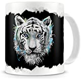 The Groovy Art - White Tiger Animal Painting - Rip Out Effect Design - Coffee / Tea Mug by The Groovy Funk