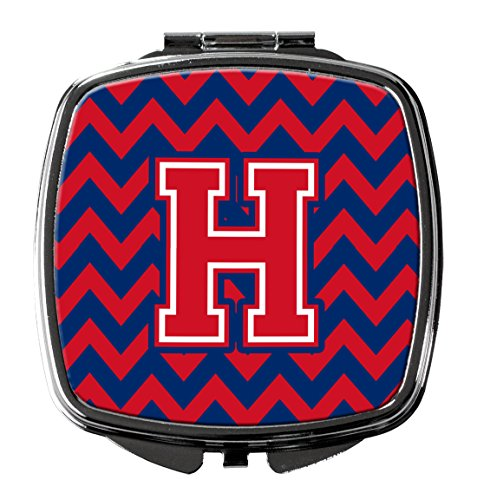 UPC 638508330437, Letter H Chevron Yale Blue and Crimson Compact Mirror