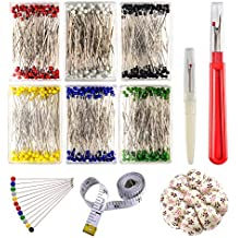 Zealor Sewing Set 600 Pieces Sewing Pins 38mm Multicolor Glass Ball Head Pins with Sewing Seam Ripper Pin Cushion and Soft Tape Measure for Dressmaking Jewelry Components Flower Decoration