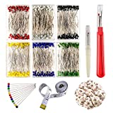 #7: Zealor Sewing Set 600 Pieces Sewing Pins 38mm Multicolor Glass Ball Head Pins with Sewing Seam Ripper Pin Cushion and Soft Tape Measure for Dressmaking Jewelry Components Flower Decoration