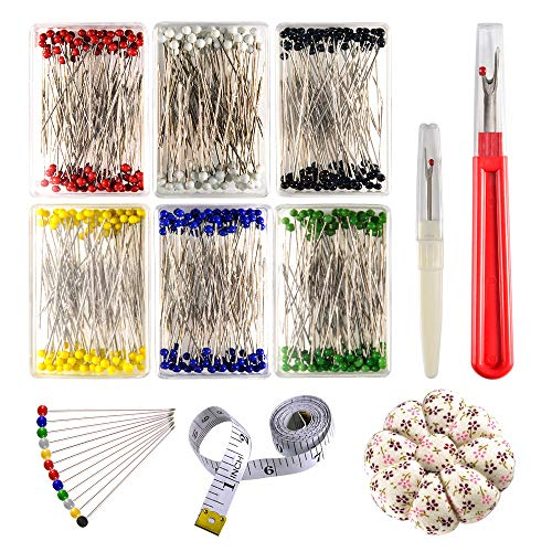 New Zealor Sewing Set 600 Pieces Sewing Pins 38mm Multicolor Glass Ball Head Pins with Sewing Seam R...